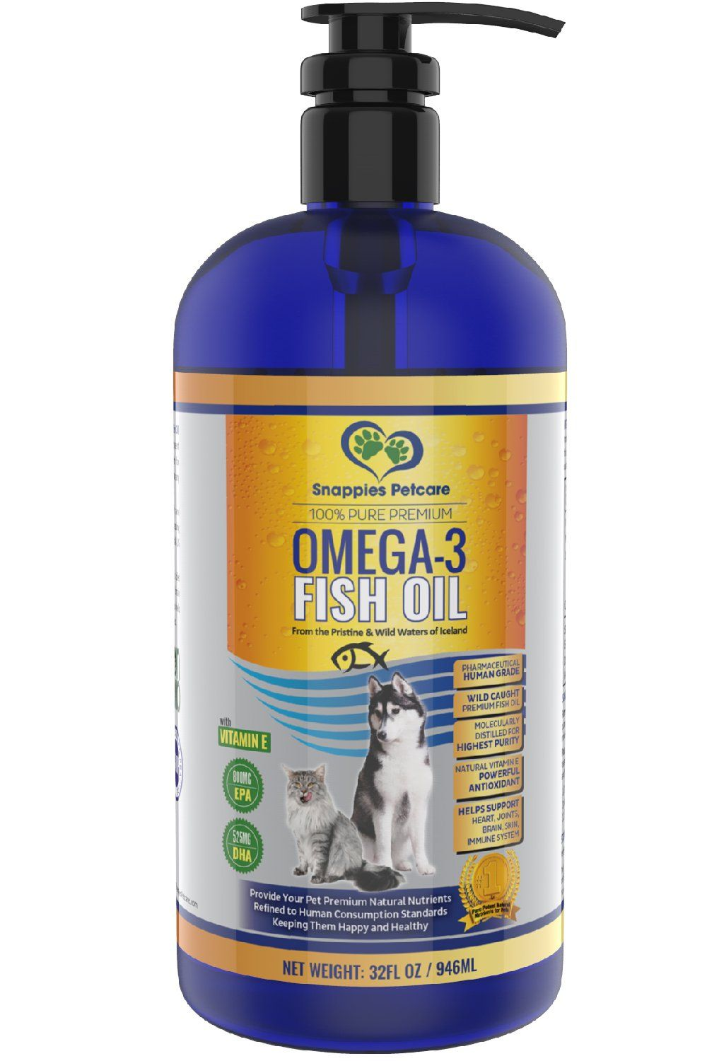 Omega 3 Fish Oil For Dogs and Cats Wild Icelandic, Pure
