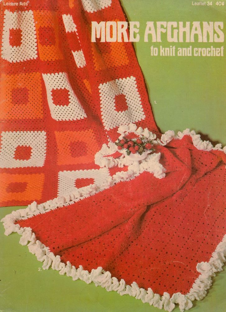 Leisure Arts 34 More Afghans Knitting Crochet Patterns Classic ...