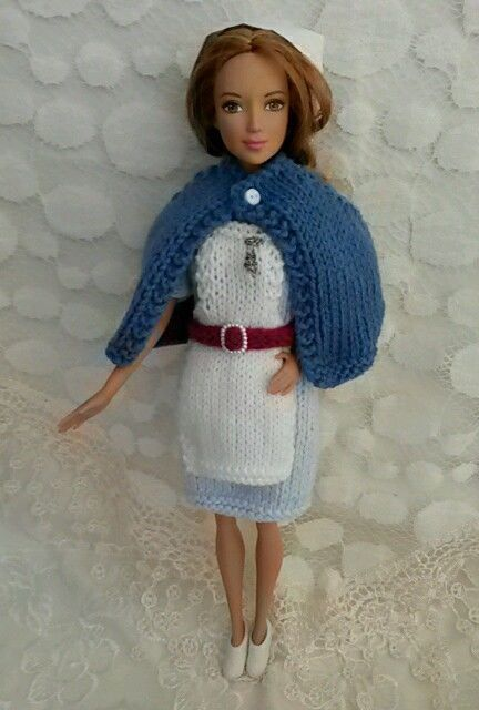 Hand knitted Barbie nurse outfit / uniform