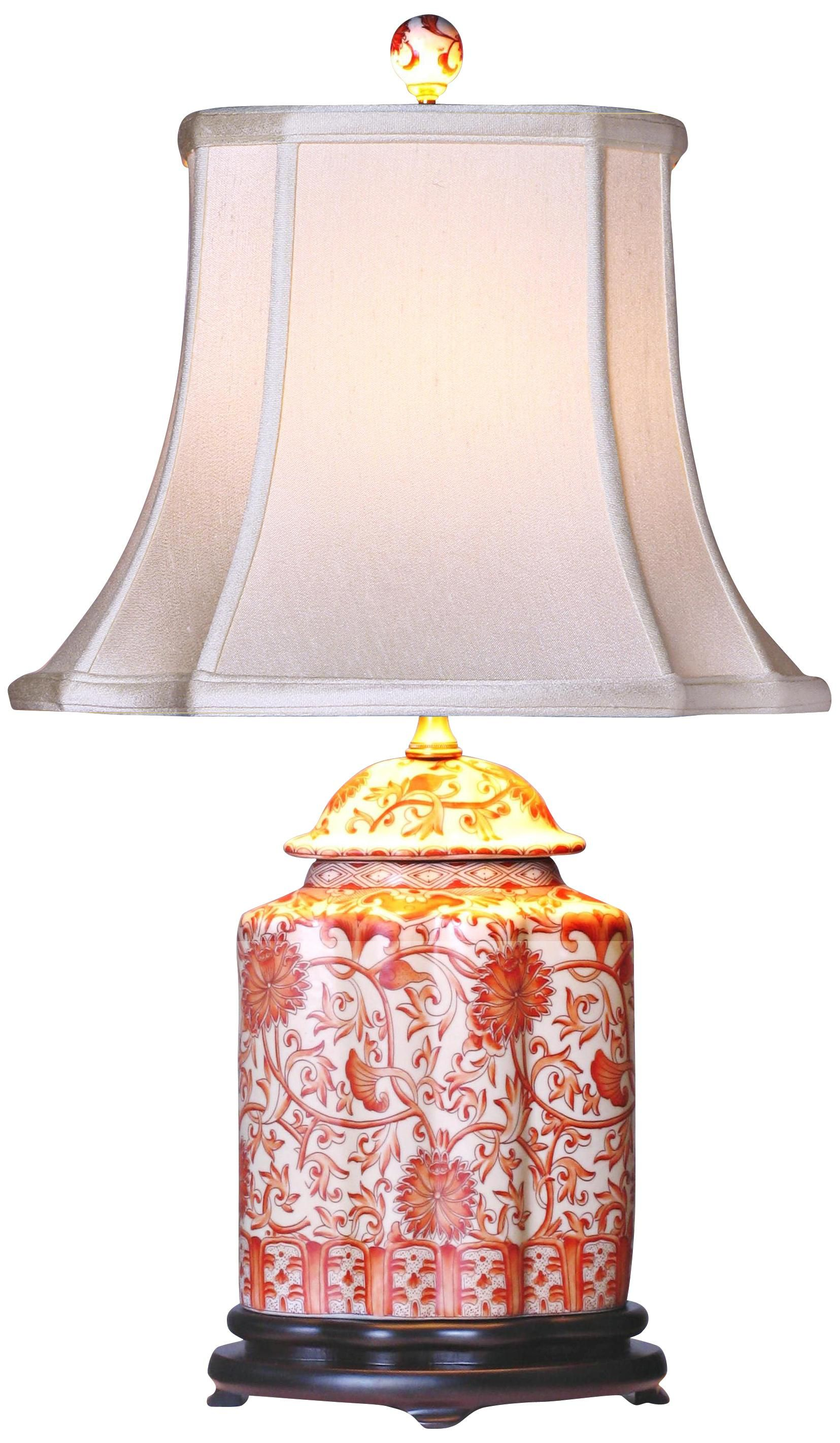 Coral Porcelain Scalloped Tea Jar Table Lamp   Family Room