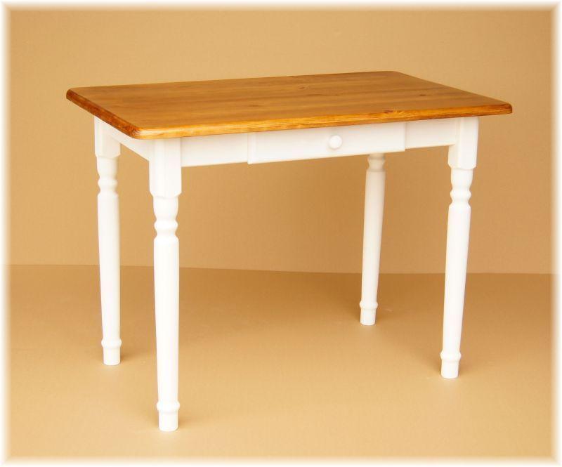 details zu esstisch küchentisch tisch massiv kiefer weiß honig mit ... - Küchentisch Mit Schublade