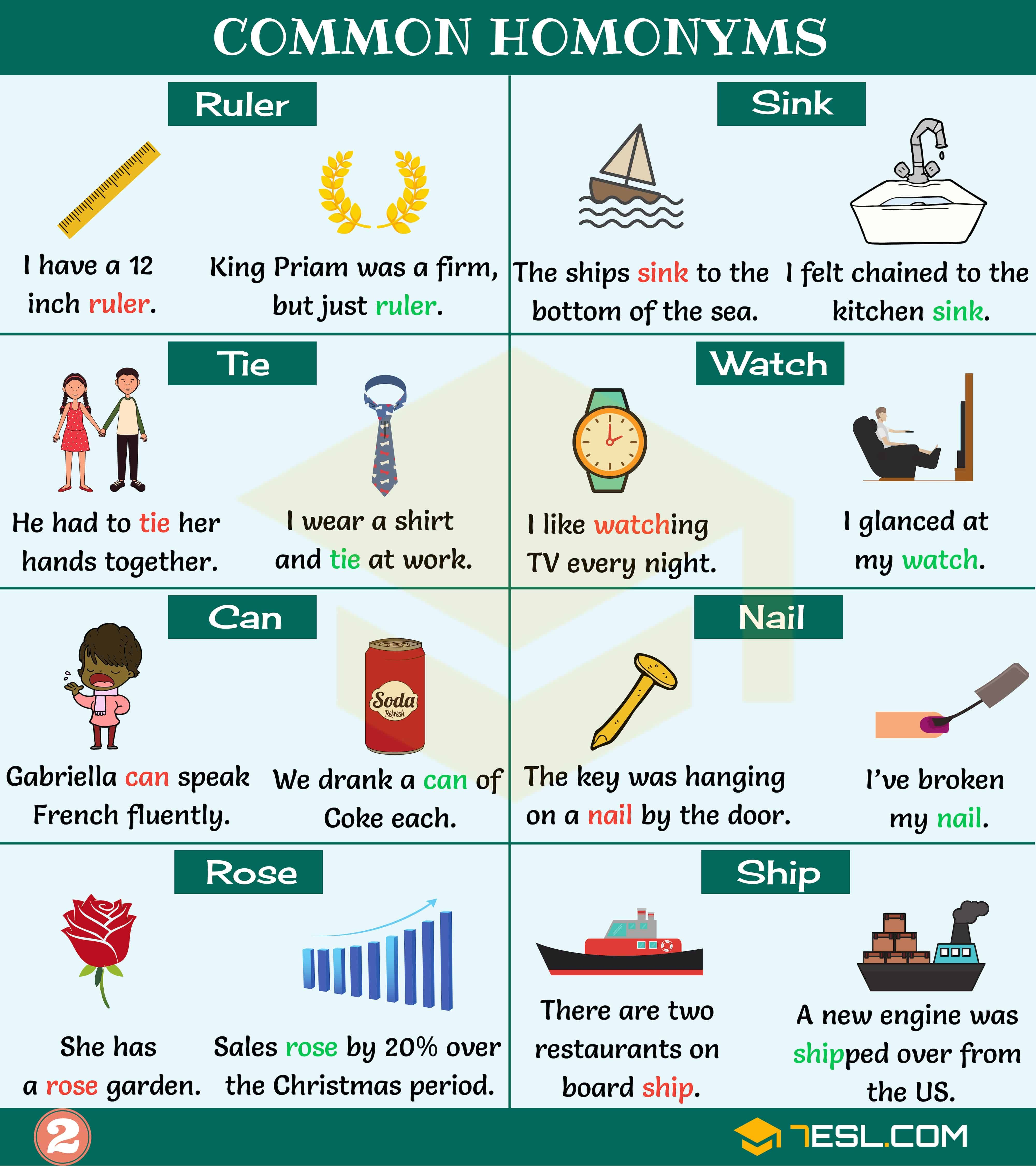Homonym List Of 300 Homonyms In English With Examples