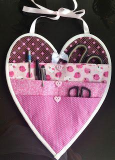 Tutorial - passo a passo organizador de tecido em forma de coração. VIVARTESANATO, RECICLANDO, DESIGN E DECORAÇÃO
