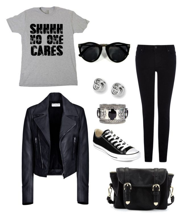 """""""For those i dont care days"""" by mahnoorfarooq on Polyvore featuring Warehouse, Balenciaga, Converse, Poverty Flats, FOSSIL and Boohoo"""