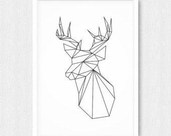 Items Similar To Monochrome Deer Geometric Monochromatic Art Black Triangle Print Animal Wall