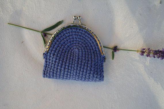 Monedero de ganchillo azul por ZoZulkaart en Etsy