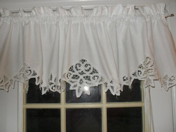 White Linen Curtains With Valence Shabby Battenburg Lace Valance Country Curtainvalances