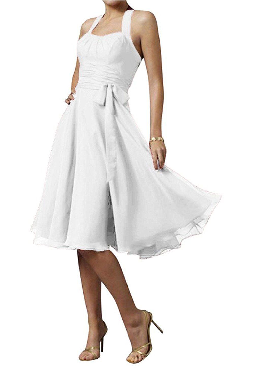 Gorgeous Bride Modern Chiffon Knielang Neckholder Schleife ...