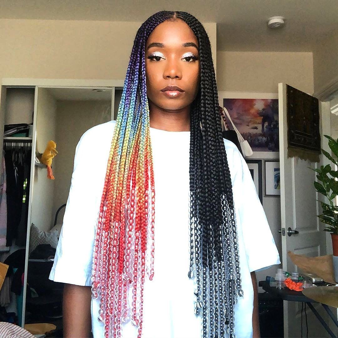 Voiceofhair On Instagram Fun With Colors Do You Love The Funky Twist That Cherder Box Braids Hairstyles For Black Women Hair Styles Braided Hairstyles