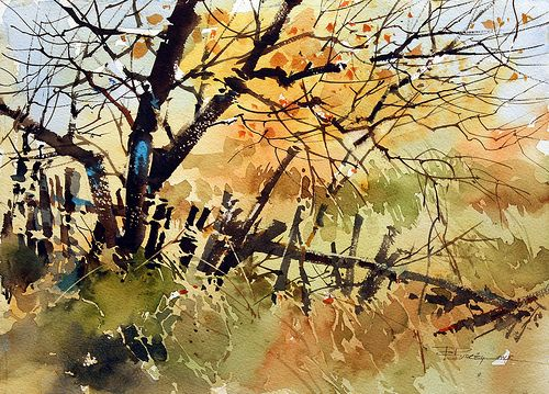 Stumbling Fence Watercolor Landscape Paintings Watercolor