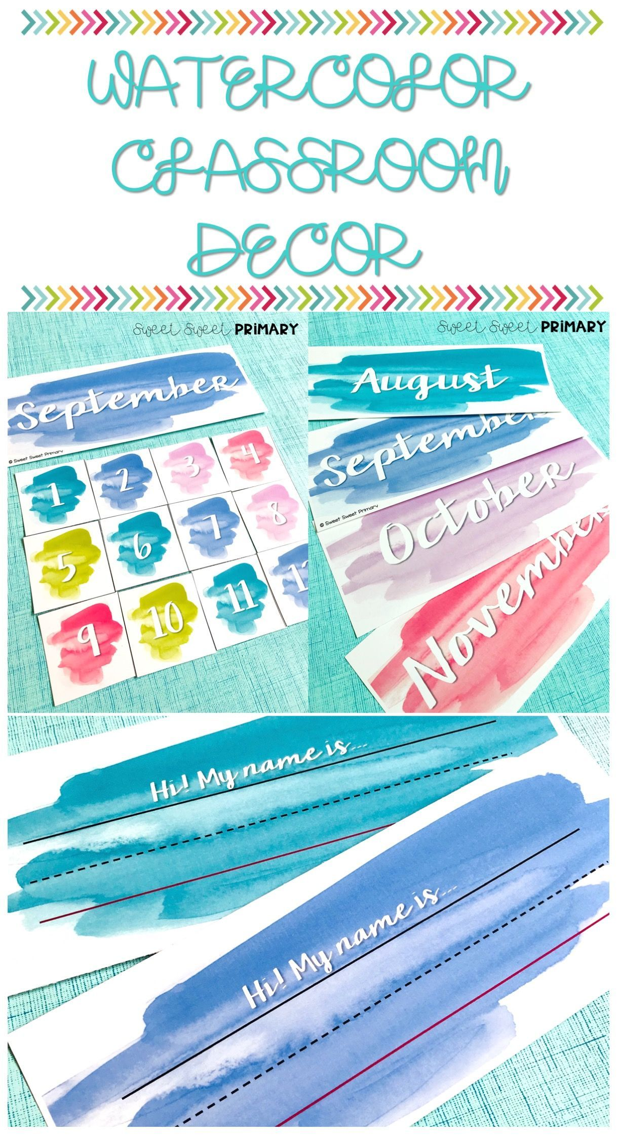 Watercolor Classroom Decor Calendar And More Classroom Jobs