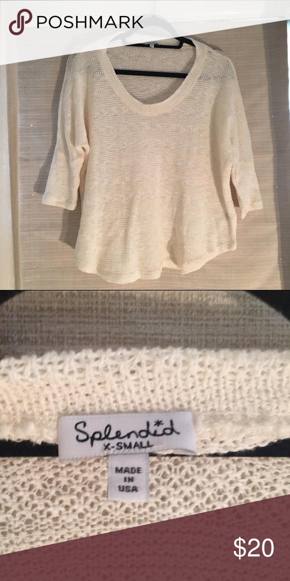 Splendid 3/4 sleeve crochet feel top Cozy, soft..good basic. Looks great with ripped jeans for that bohemian chic look Splendid Tops