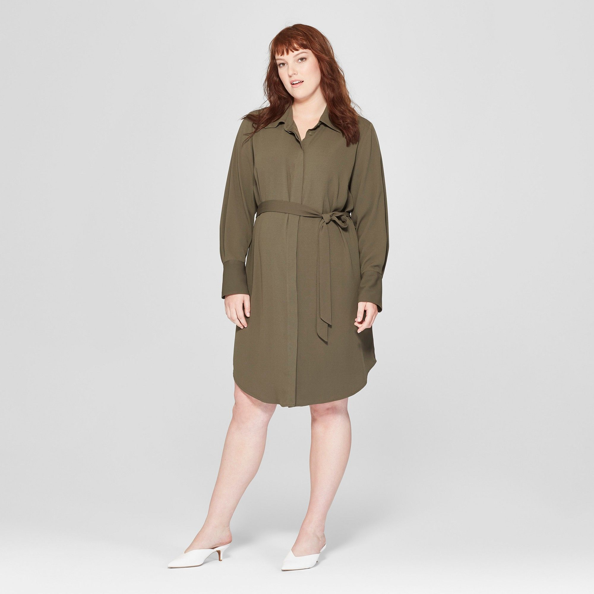 Womens Plus Size Long Sleeve Collared Shirt Dress Prologue Olive