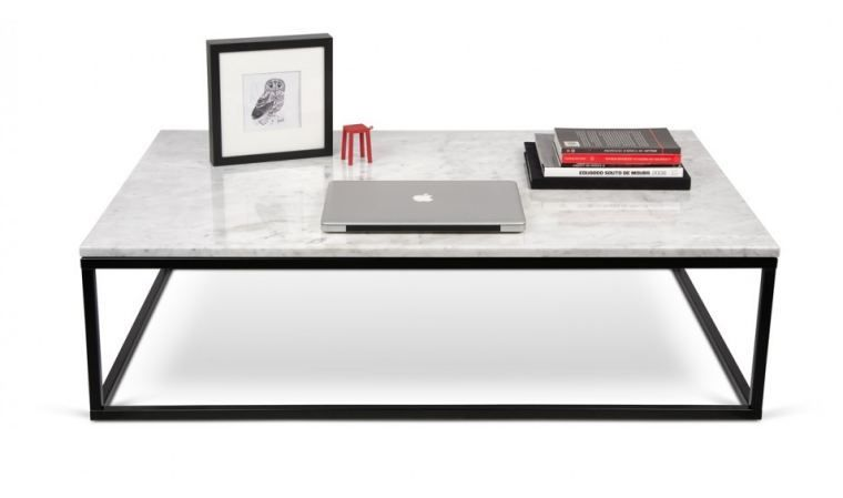 Table basse prairie marbre blanc pieds acier noirs for Table basse scandinave marbre