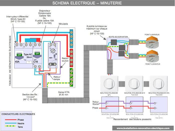 Le Schema De La Minuterie Electrique Electrical Wiring Electricity Electrical Engineering
