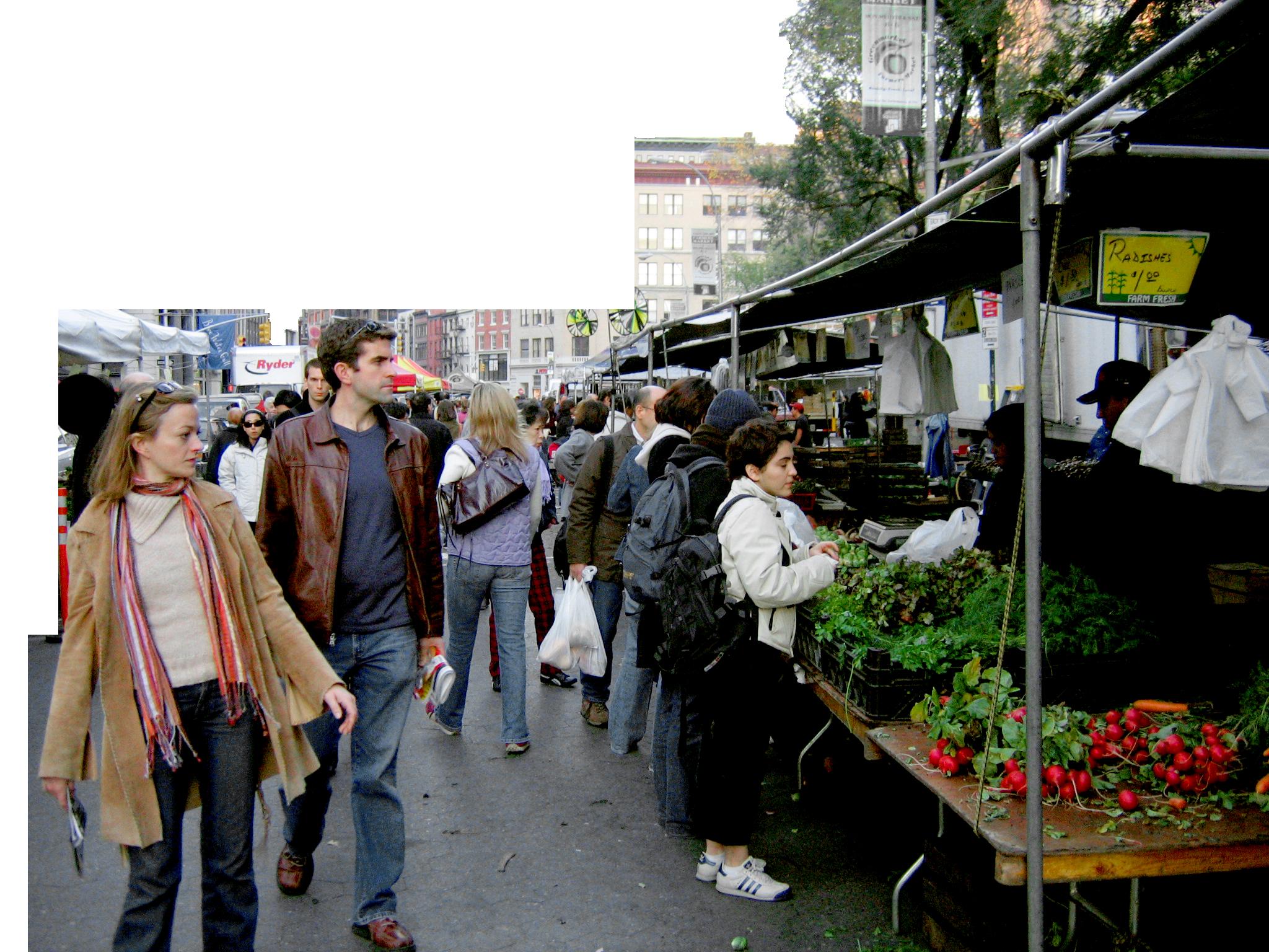 Street Markets Union Square Farmers Market People Cutout Render People