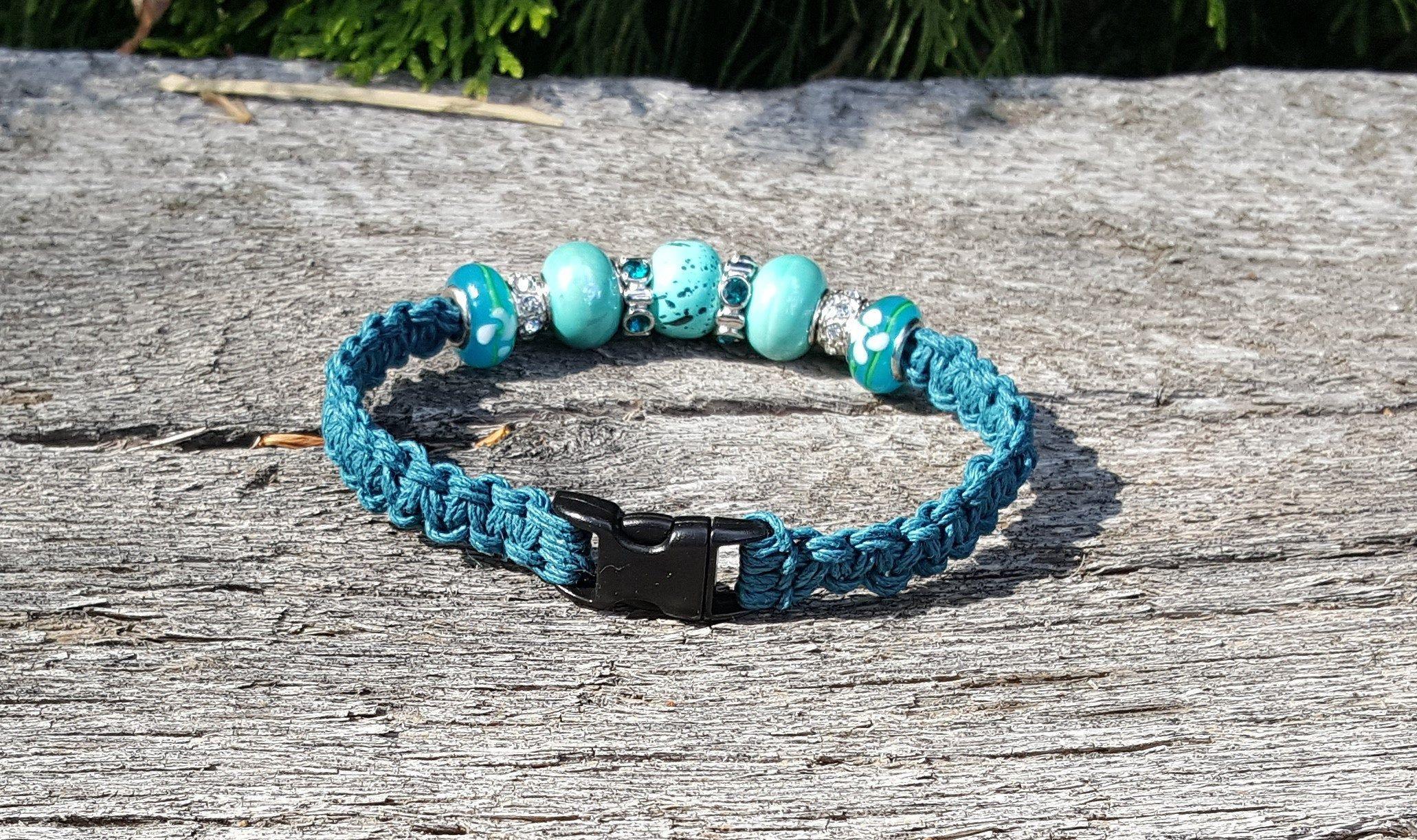 Teal green blue hemp with rhinestone beads macrame cat or