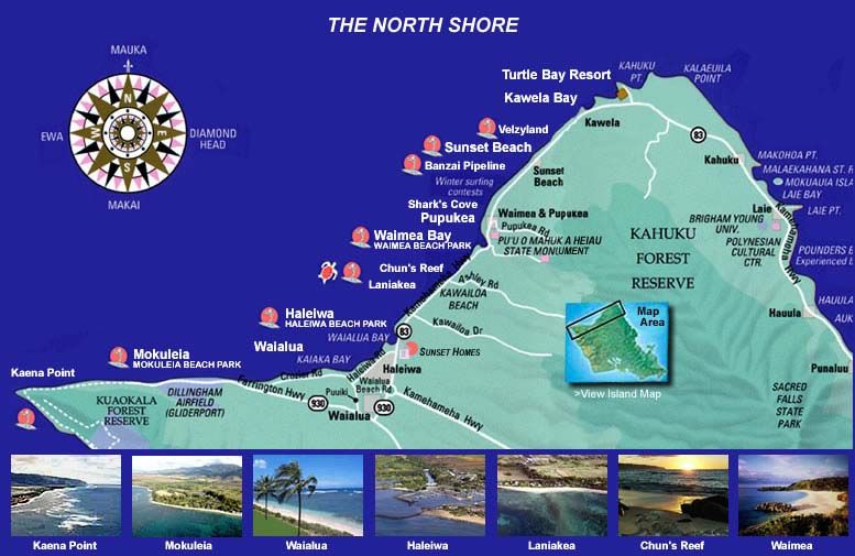 Pipeline Hawaii Map | North Shore, Oahu, Hawaii 2007 Surf