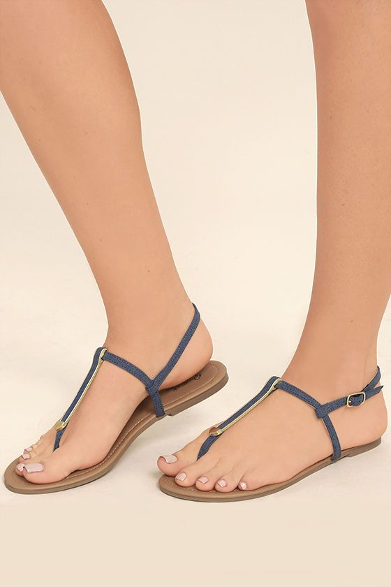 ee5ceb3dca552 Cute Denim Sandals - Gold and Blue Sandals - Thong Sandals -  17.00 Lulus Denim  Sandals