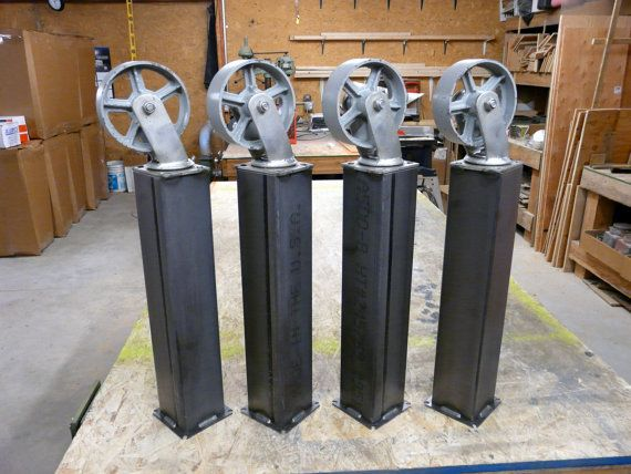 Diy Industrial Metal Table Legs With Casters By Modernindustrial Industrial Metal Table Legs Metal Table Legs Table Legs
