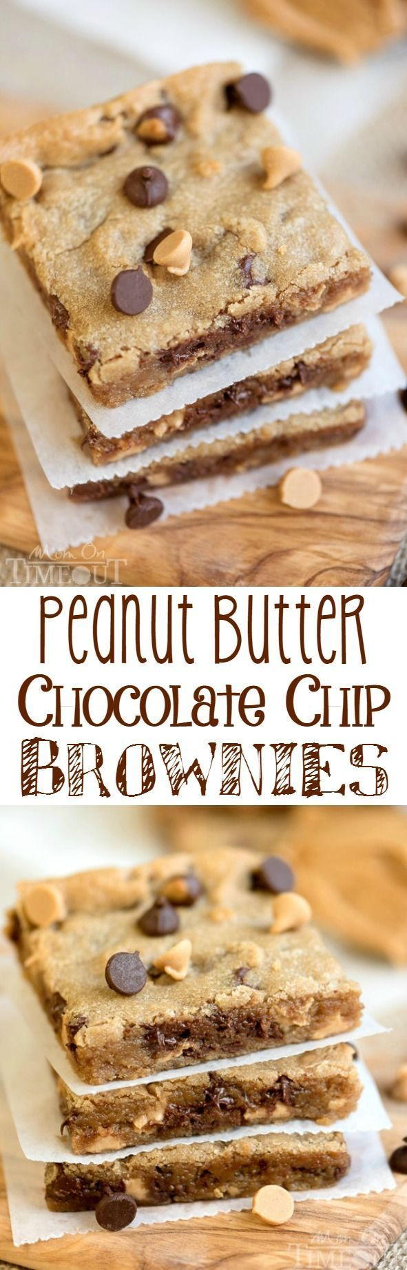 Perfectly moist, decadent, and fudgy, these sinful Peanut Butter Chocolate Chip Brownies will redefine your love for peanut butter. The perfect easy dessert recipe for peanut butter and chocolate lovers!|