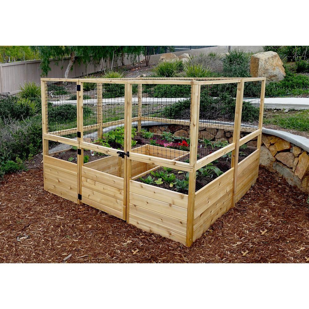 Outdoor Living Today 8 ft. x 8 ft. Cedar Raised Garden Bed with Deer ...