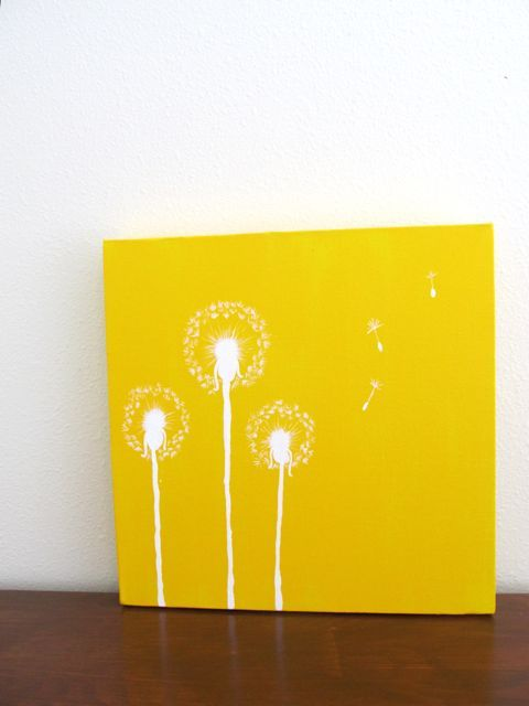 Dandelion Painting Yellow, Paintings With Yellow Background