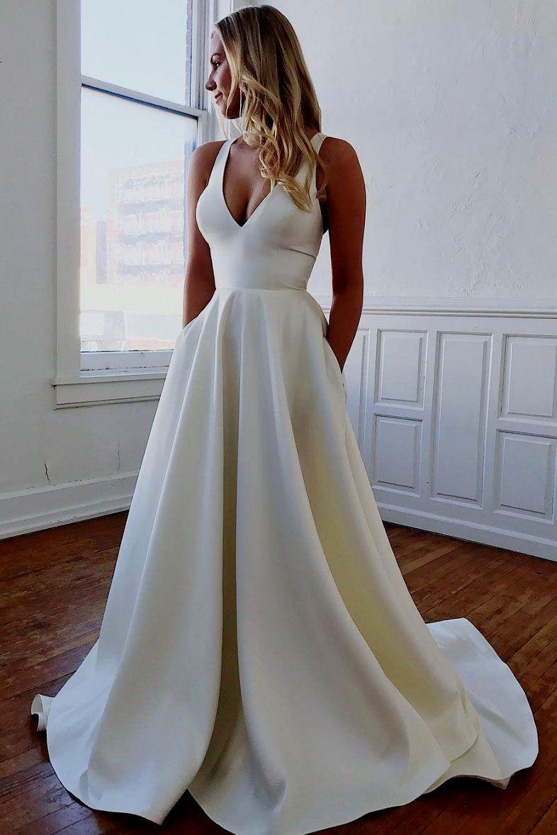 macy's white prom dresses   V neck wedding dress, Satin wedding ...