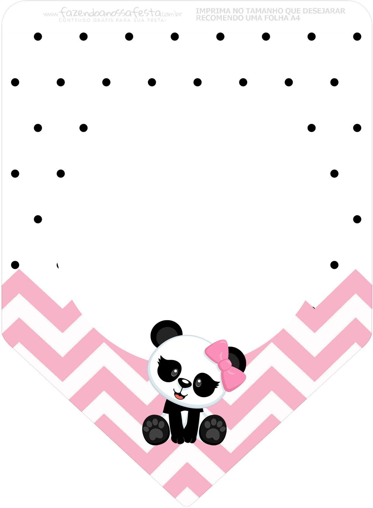 Bandeirinha Varalzinho 3 Panda Rosa Personalizados Para Festa Com