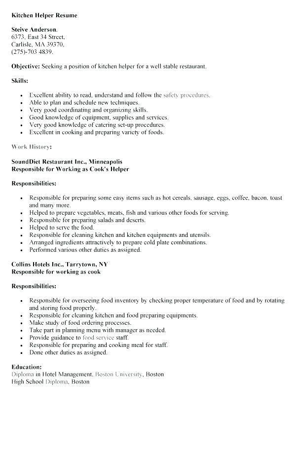 Resume Examples Kitchen Helper Pinterest Resume examples