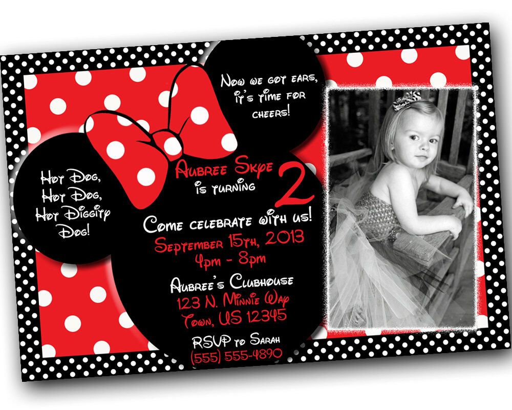 Minnie Mouse Invitations, Minnie Mouse Birthday, Red Minnie Mouse ...