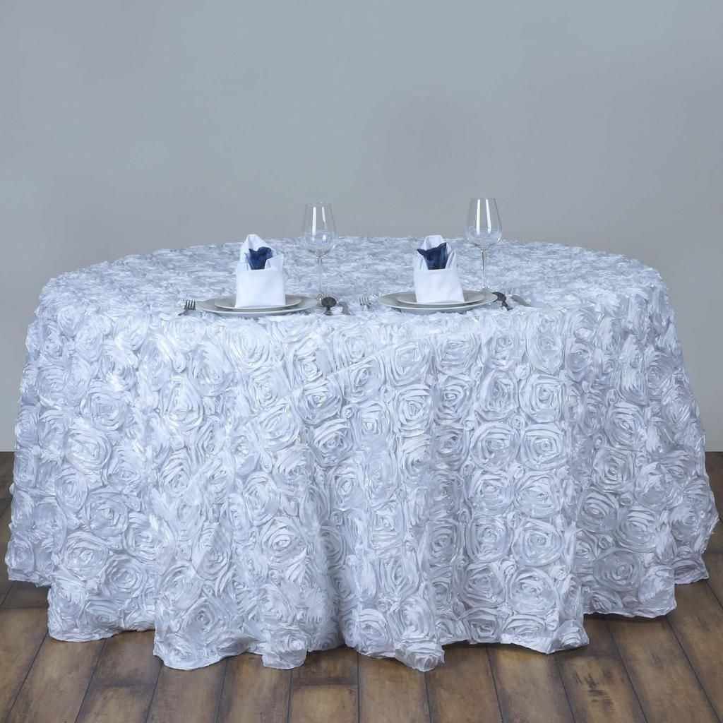 120 White Grandiose Rosette 3d Satin Round Tablecloth Rosette Tablecloth Table Cloth Round Tablecloth