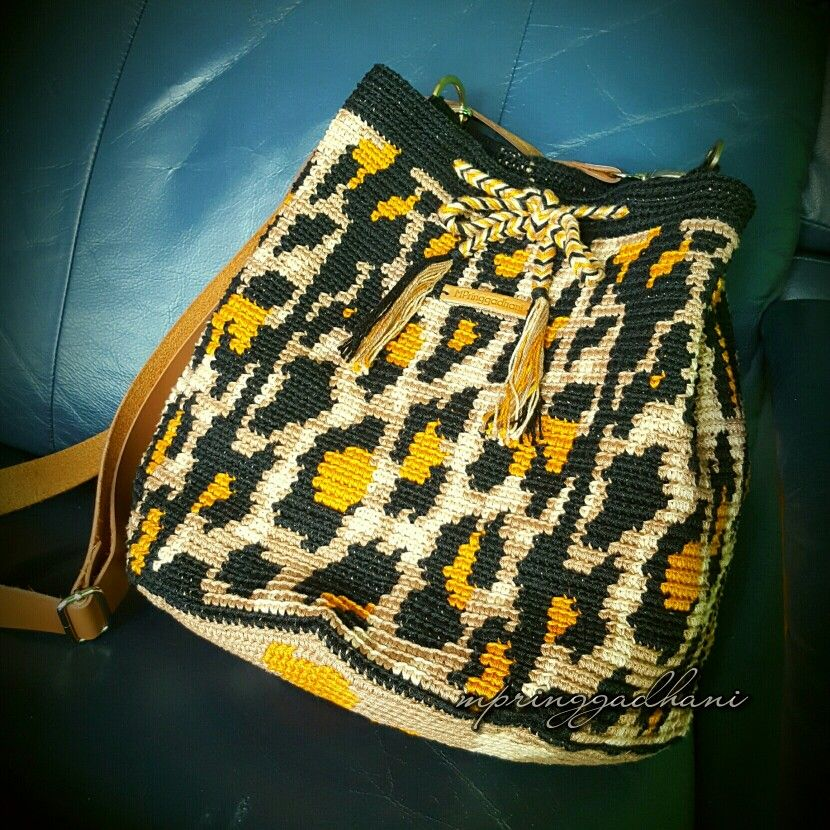 Leopard Print Wayuu Bag By Mpringgadhani Crocheted Bags