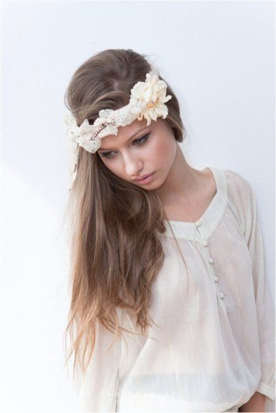 Vintage Inspired Beige Lace/Fabric Flower Headband by NatandEli, $75.00
