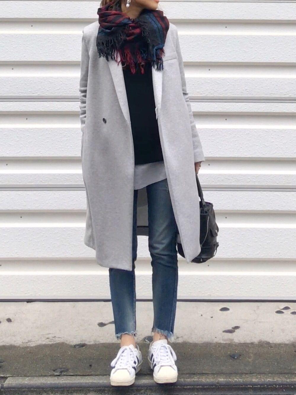 Mue The Reracsのチェスターコートを使ったコーディネート ファッション 2017 秋冬 ファッション ファッションスタイル