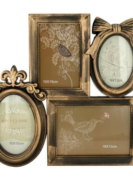 Decorative Gold Brushed Collage Photo Frame (Available in a pack of 4)