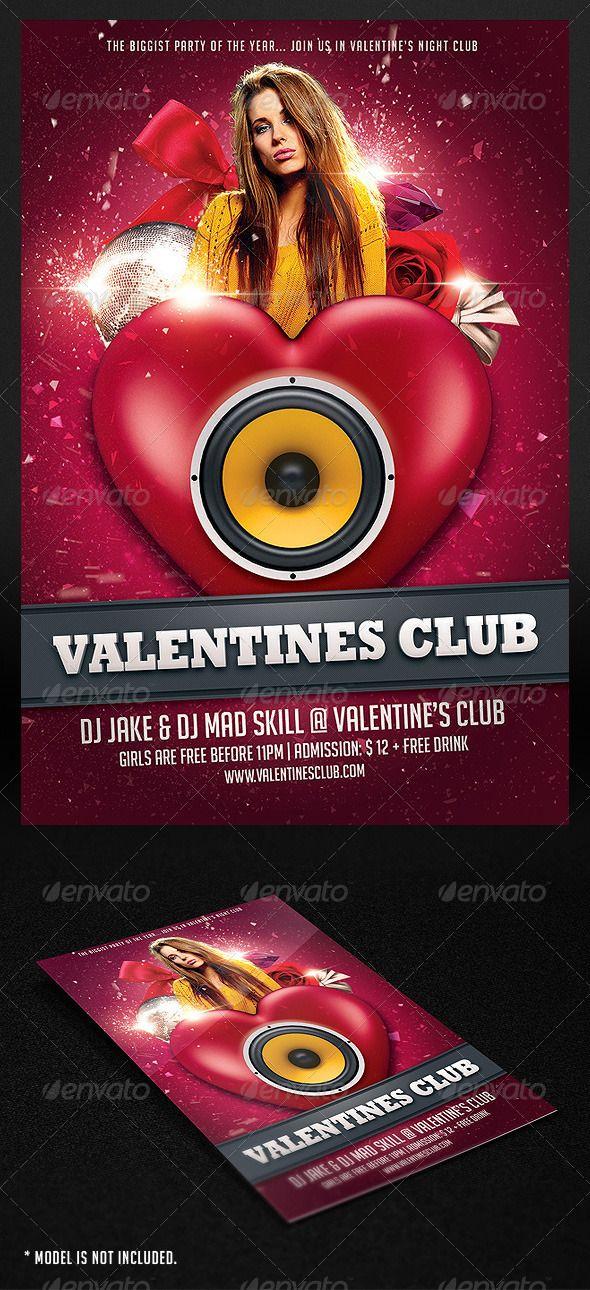 Print Templates - Valentine Club Flyer | GraphicRiver | My Flyer ...