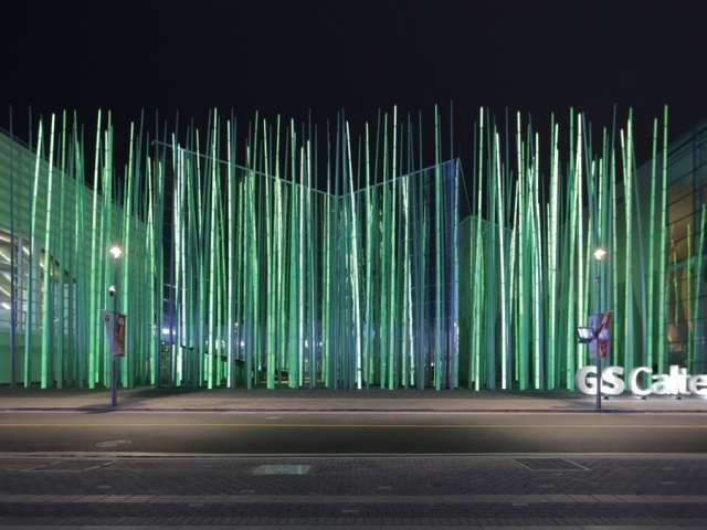 Illuminated Grass Installations #lightartinstallation