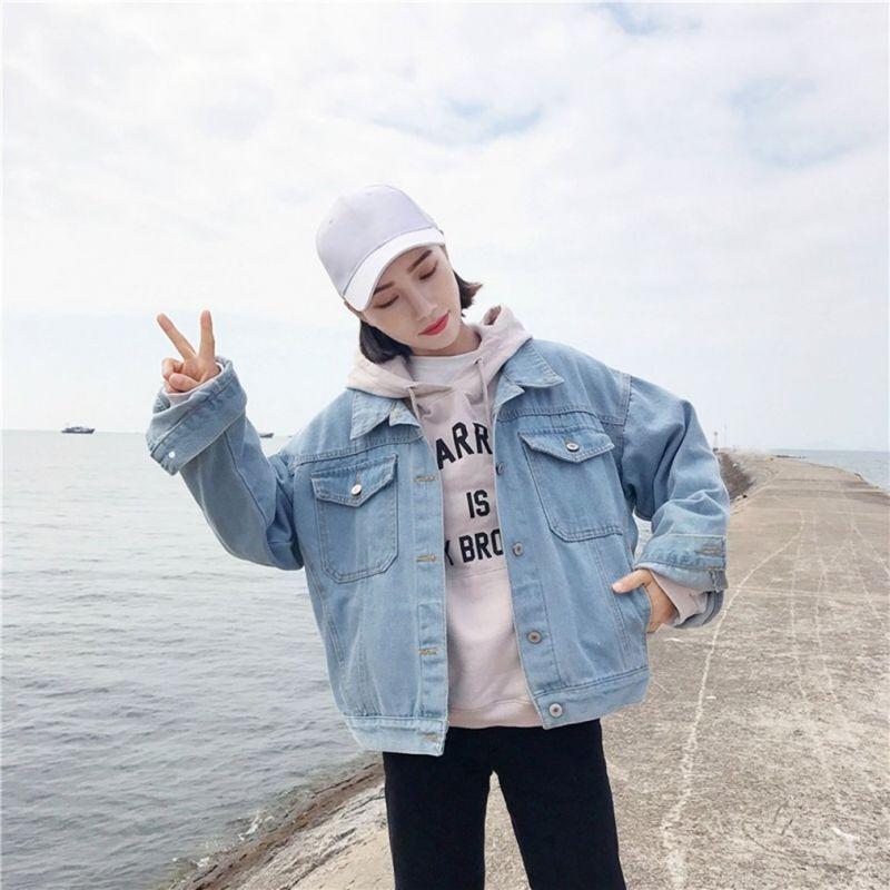 1cbedcf83cf Korean style fashion loose coat long sleeved single breasted buckle denim  jacket female woman coat casual