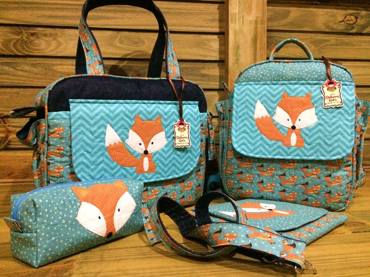Bolsa De Tecido Quiltada : Kit de maternidade raposinha bolsa g mochila trocador