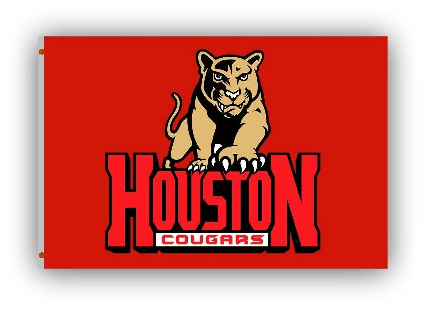 Houston Cougars Flag • NCAA Licensed – $19,00 FREE Shipping • Flags is quality Polyester and Nylon with grommets. • 3 ft x 5 ft – With double stitching around edges. • Flag can be used inside or out. • New - unused in original factory packaging • Usually ships within 72 hours or less with tracking. • Satisfaction guaranteed or your money back. We accept all Major credit cards, PayPal, Money orders, • We offer no pick-ups – we sell from our website Sportsworldwest.com