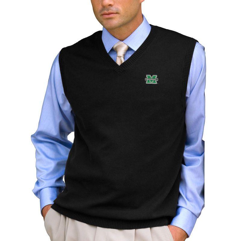 Marshall Thundering Herd Milano Knit Sweater Vest - Black | Vests ...