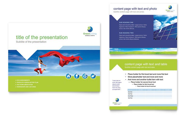 Green Living  Recycling  Powerpoint Presentation Template Design