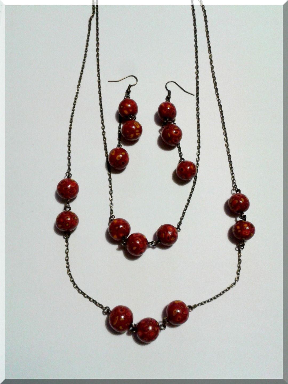 Parure Collier - Boucles d'Oreilles Perles rondes bordeaux rouge jaune : Parure par aliciart