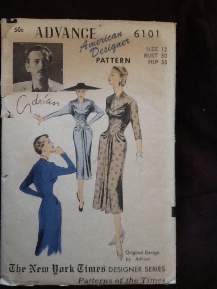 Vintage Advance 6101 American Designer Pattern By Adrian The New York Times Designer Series Dress Patte Vintage Sewing Patterns Vintage Sewing Sewing Patterns