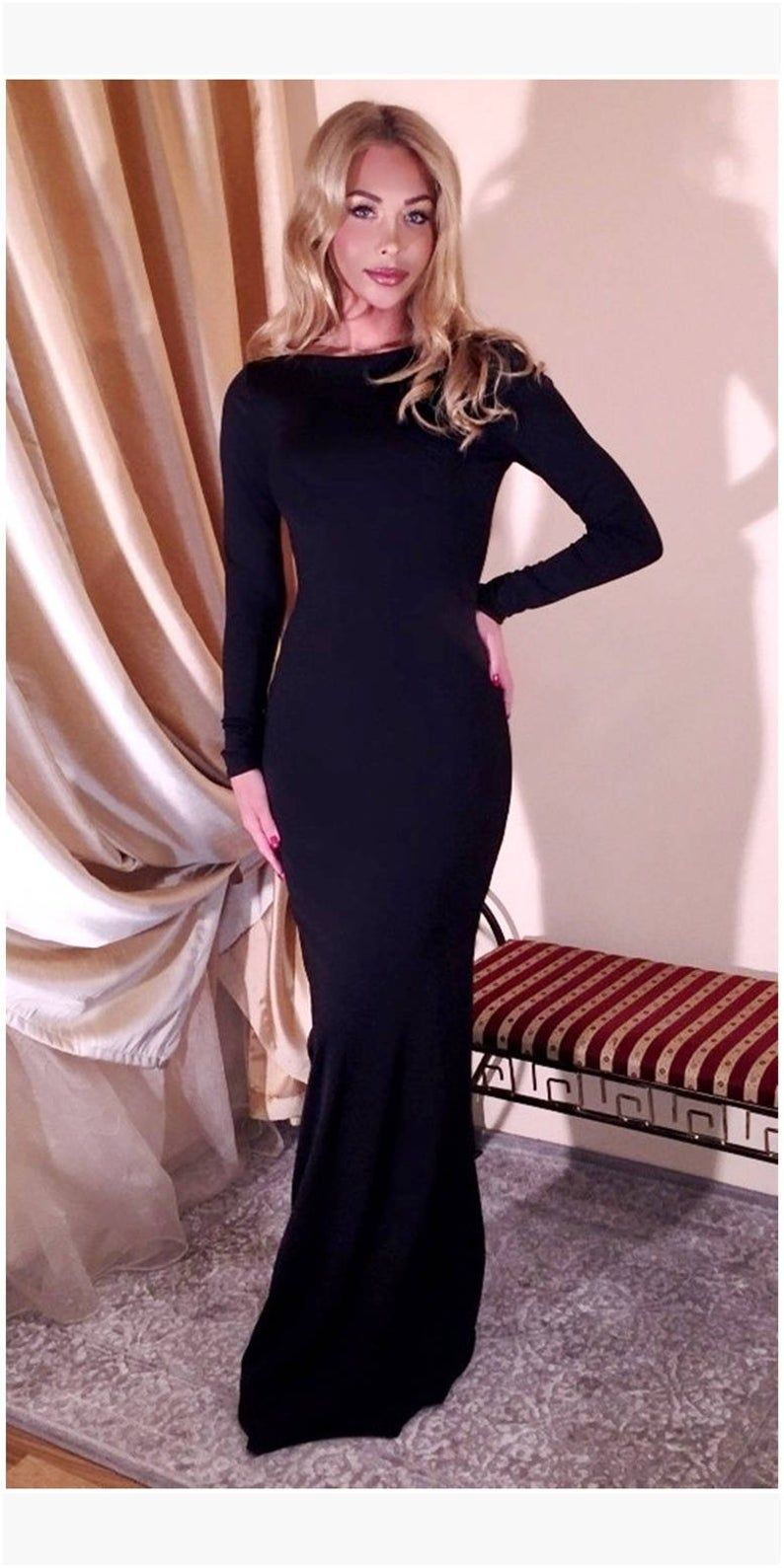 Black backless maxi bodycon dress party evening fitted