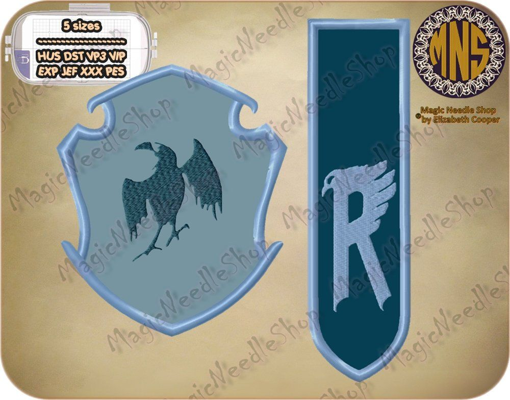 Set of two ravenclaw faculty crest embroidery applique harry