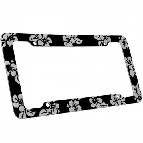 Black Hawaiian Floral License Plate Frame | Hawaiian License Plate ...