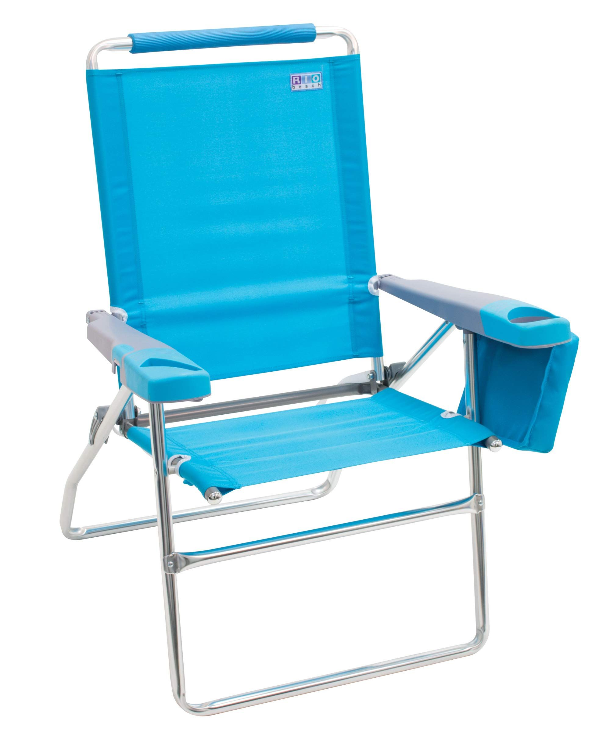 Rio Beach 17 Quot Extended Height 4 Position Folding Beach Chair Teal Folding Beach Chair Beach Chairs Beach Chairs Portable