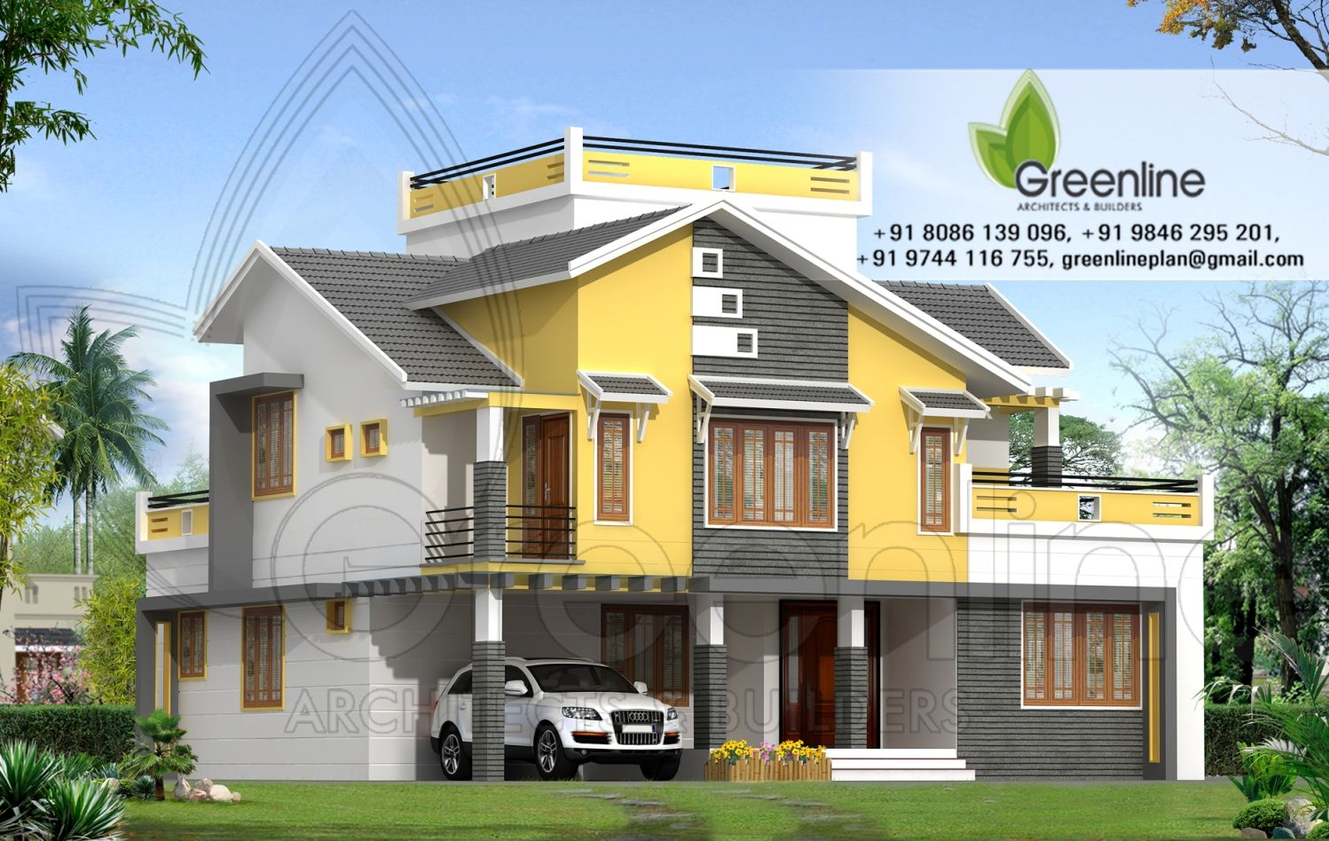 2550 sq ft contemporary duplex home design from greenline architects ...